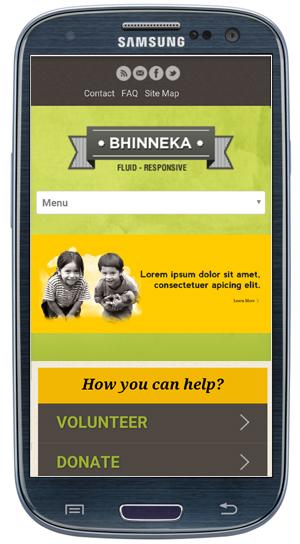 Bhinneka WordPress Theme - Mobile View