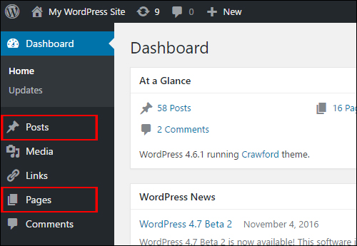 WordPress Menu - Posts & Pages