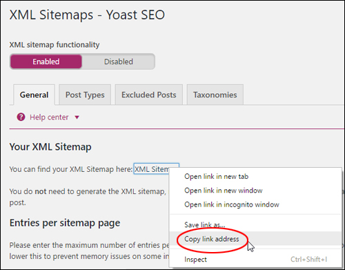 Copy your XML sitemap URL