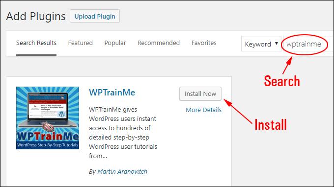 Install WPTrainMe Plugin