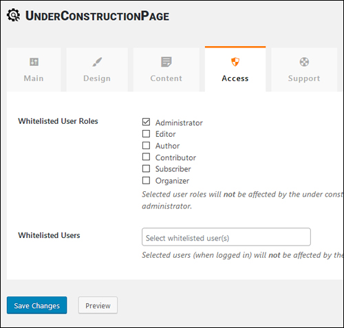 Under Construction Page Settings - Access