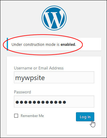 WordPress login notice