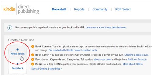 KDP Bookshelf - Create a New Title