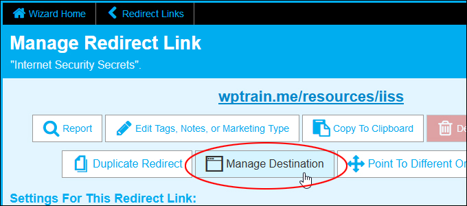 Manage Destination