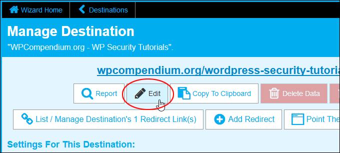 Manage Destination - Edit Button