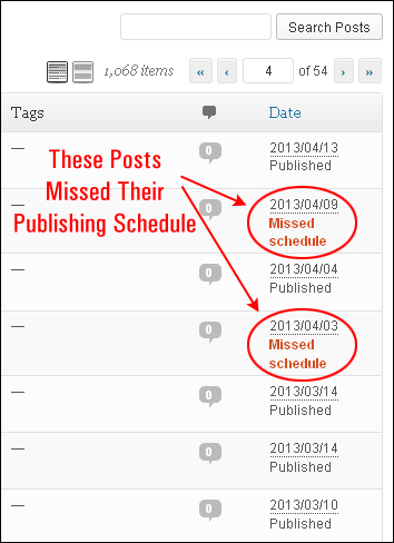 WP Missed Schedule Posts finds posts that have missed their publishing schedule