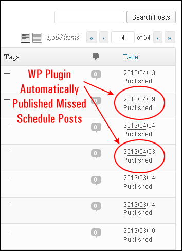 All missed scheduled posts will be published