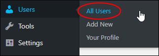 Users > All Users menu