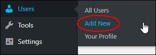 Users > Add New menu