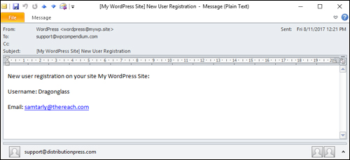 New User Registration email notification sent to administrator