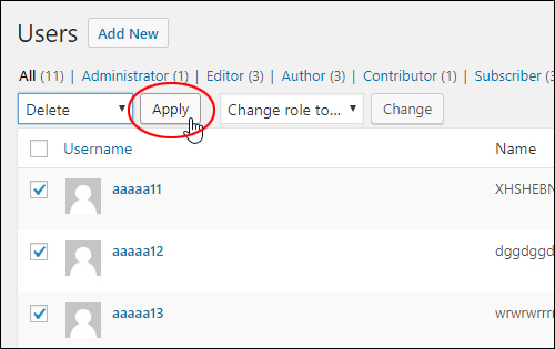 Bulk Actions > Delete > Apply