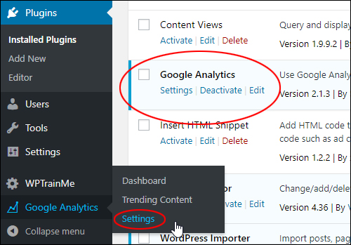 Google Analytics > Settings
