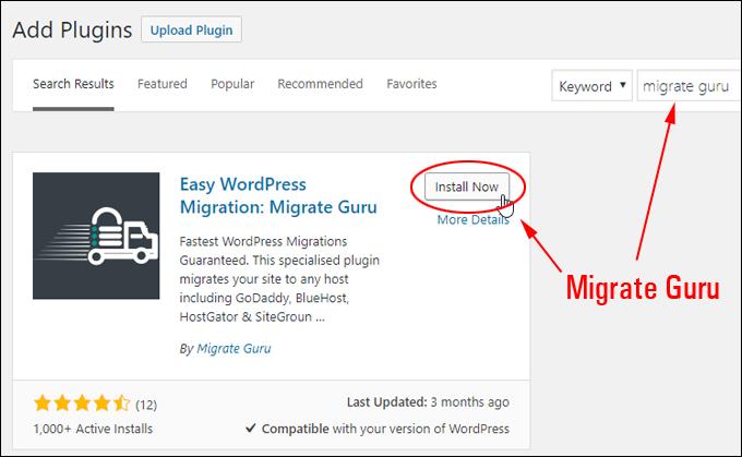 Install the Migrate Guru plugin