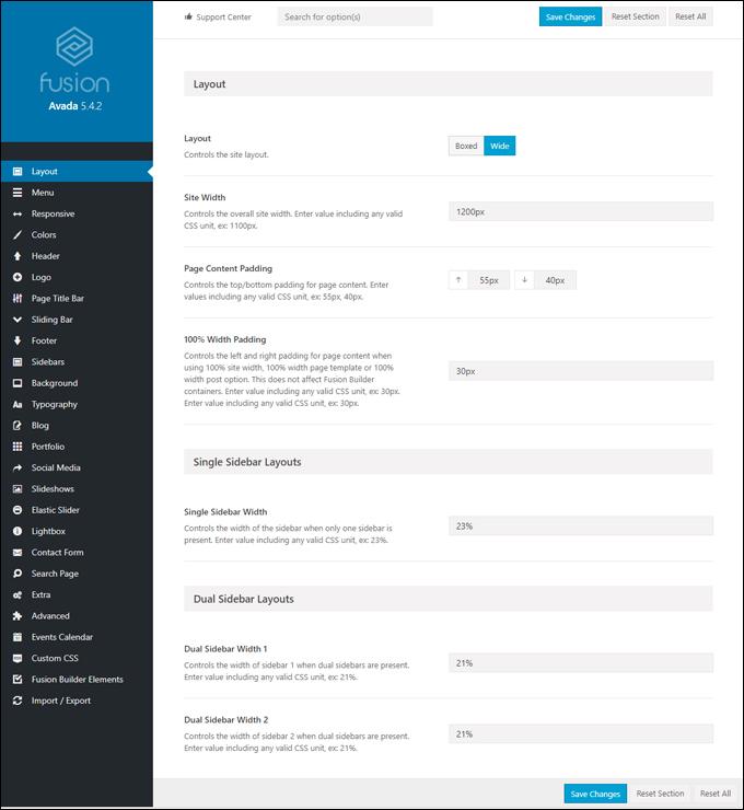 Avada theme options menu