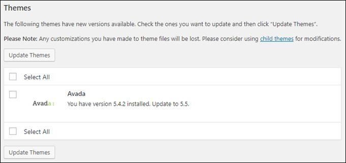Avada theme is regularly updated