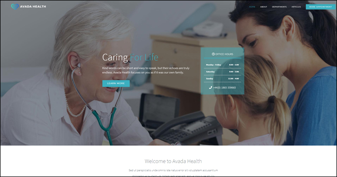 Avada Health WordPress Theme