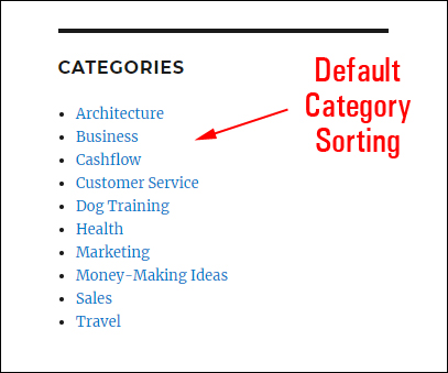 Default category sorting