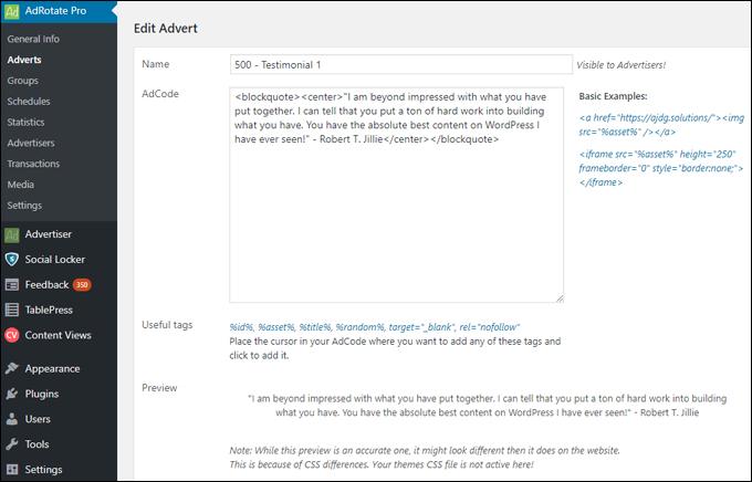 Add testimonials using banner ad plugins