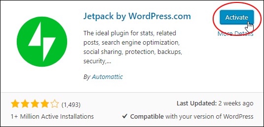 Activate the Jetpack plugin