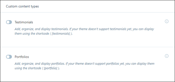 Jetpack - Custom content types