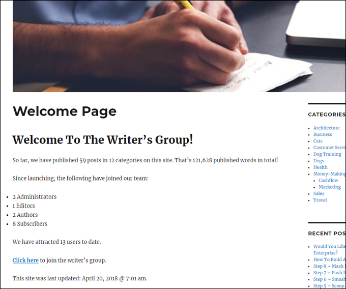 Add headings in your posts or pages to generate a table of contents