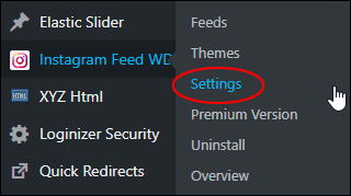 Instagram Feed WD - Settings menu