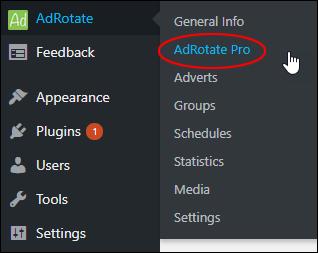 AdRotate - AdRotate Pro menu
