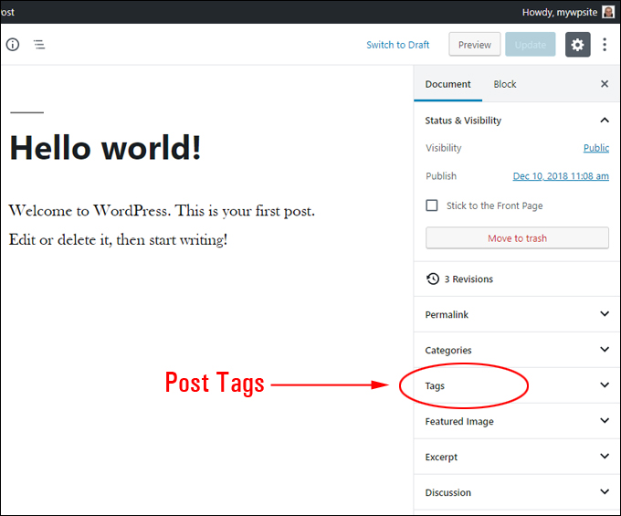 Tags Settings Panel