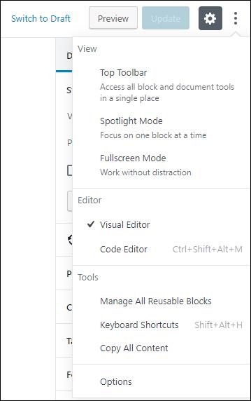 More Tools & Options menu