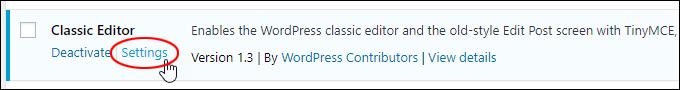 Classic Editor > Settings