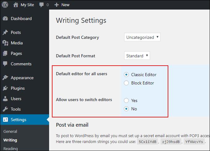WordPress Writing Settings - Editor Section