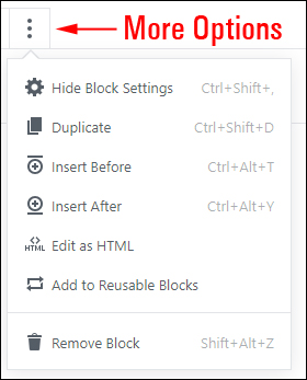 Block Editor - More Options