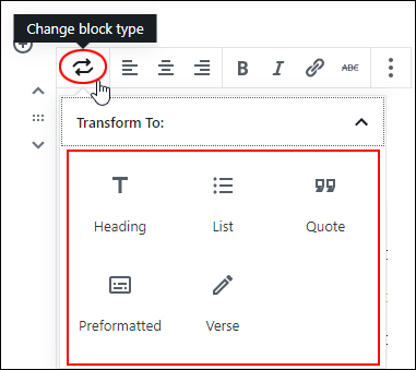 Change Block Type - Paragraph Block