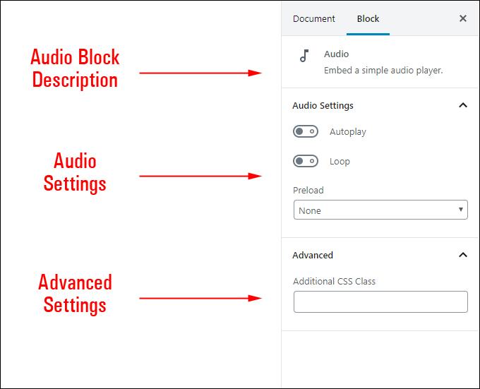 Audio Block Settings