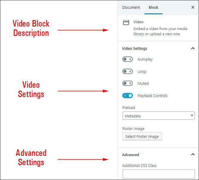 Video Block Settings