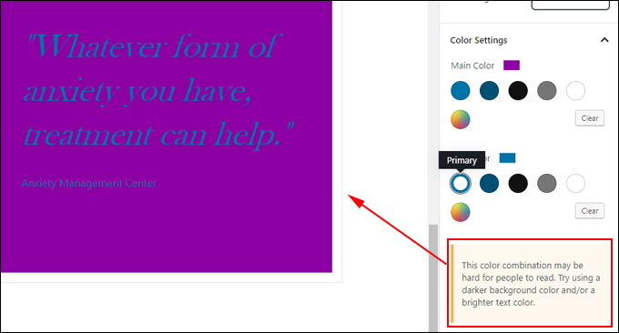 Pullquote Block: Built-in color design tips