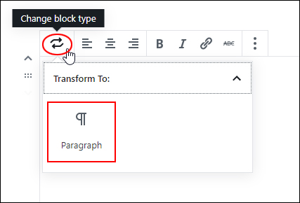 Change Block Type - Verse Block