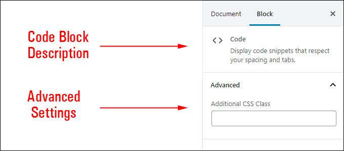 Code Block Settings