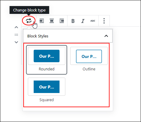 Change Block Type - Button Block
