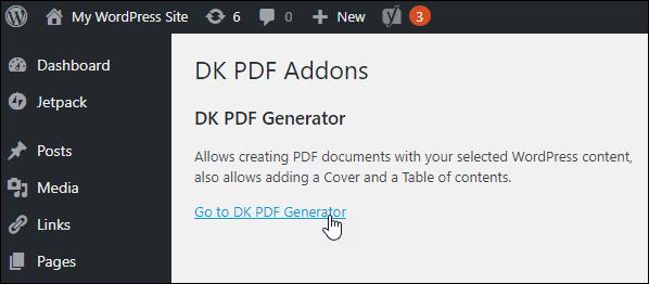 DK PDF Addons screen