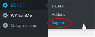 DK PDF - Support menu