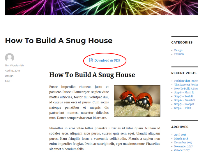 WordPress post with PDF button
