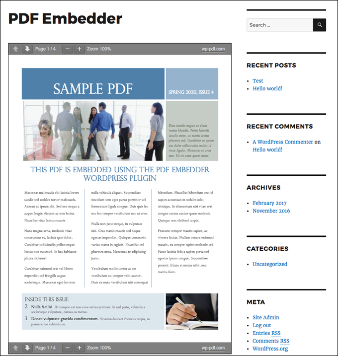 PDF Embedder lets you embed PDFs into your content