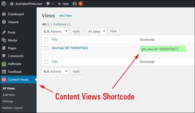 Content Views Shortcode