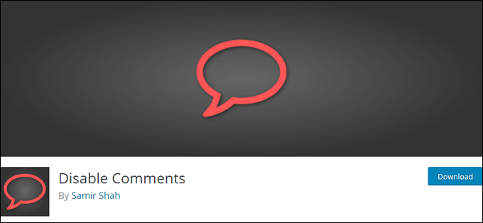 WordPress plugin - Disable Comments