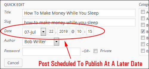 Posts scheduled to publish at a specified date