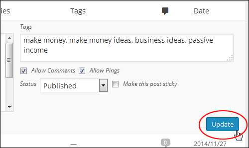 Click 'Update' to save your new post settings