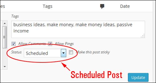 Quick Edit - 'Scheduled' post status
