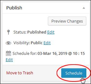 Publish Box - Schedule