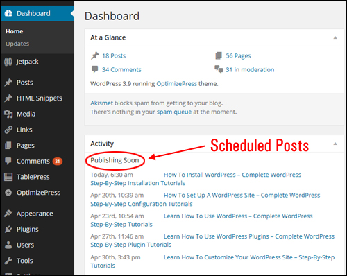 Dashboard - Activity Screen